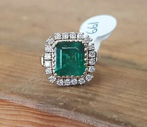 14ct gold Emerald And Diamond ring