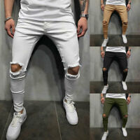 Men Skinny Jeans Trousers Biker Destroyed Frayed Slim Fit Denim Ripped Pants