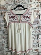 Hollister Cap Sleeve Cream Embroidered Top. Size L. Ex Condition