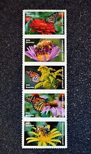 2017USA #5228-5232 Forever - Protect Pollinators - Strip of 5  Mint flower