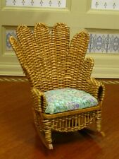 BJR Natural Wicker Rocking Chair Upholstered Artisan Dollhouse Miniature