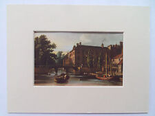 """QUEEN'S COLLEGE CAMBRIDGE PRINT DATE c1940 6x8"""" MOUNT READY TO FRAME"""