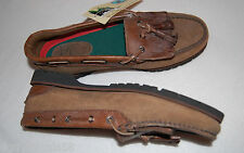 Mens SHOES 2 tone Brown LEATHER Double Tassle LOAFER Land of the Woods 9 M