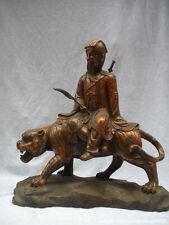 Chinese Myth old Bronze Eight Immortals God Ride Tiger-Lu Dong Bin Buddha statue