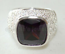 Amethyst White Gold finished Ring #8373 Size7 925 Sterling Silver & Square cut