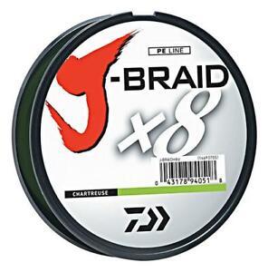 50% Off Daiwa J-Braid x8 Fishing Braid Line 165 Yds- JBraid-Chartreuse-Pick Size