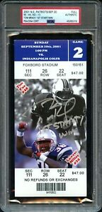 2001 TOM BRADY SIGNED PATS ROOKIE RC 1st START AND WIN FULL TICKET PSA/DNA AUTO