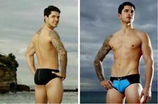 """BCNU Hero men's swimwear brief, black/blue, size L (34""""-36"""")"""