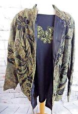 """INDIGO MOON jacket top set 1XL bust 50"""" 22 black khaki green floral beads boho"""