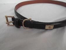 vtg Ralph Lauren skinny narrow blk leather belt gold buckle logo sz S 33in MINT