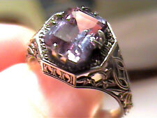 Russian Alexandrite Ring 10 SILVER  color change purple-blue filigree delicate