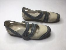 Remonte Dorndorf Mary Jane Flat Off White Gray Blue Shoe Sz 4.5 EU 36