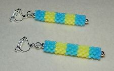 Striped Blue & Yellow Candy Colour Bead & Silver Clip On Dangle Earrings - NEW