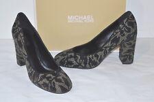 New $150 Michael Kors Jamie Pump Black Leather Studded Floral Print Block Heel