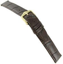 16mm Hirsch Duke Alligator Grain Genuine Leather Dark Brown Stitched Watch Band