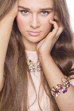 Women's Charming Leaf Bracelet Embellished With Gems Jewellery Wristband