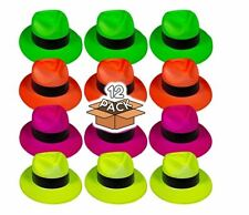 12pk Neon Fedora Party Hats Photo booth Props Kids Birthday Favors Dress Up