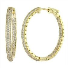 925 Sterling Silver Micro Pave CZ Hoop Earrings Oval Yellow Gold Finish