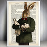 HARE RABBIT ANIMAL ART PRINT VINTAGE DICTIONARY PAGE STYLE ANTIQUE PICTURE BOOK