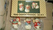 "Snowmen Set of 3 Mint Condition 3"" Inches LANTERN HORN RED ROBIN ANGEL WINGS"