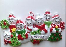 Snowman Family of Seven Personalized Christmas Ornament - Grandkids Coworkers