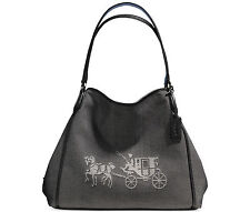 4c67a46d85b COACH L Shoulder Satchel Tote Denim Black Hobo HORSE CARRIAGE EDIE bag  35344 New