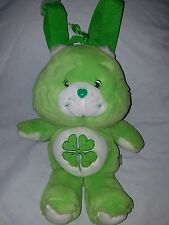 "RARE 2003 Care Bears Lucky Green Shamrock 12"" Plush Backpack Purse"