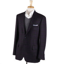 NWT $6095 BRIONI 'Colosseo' Gray and Purple Check Cashmere Sport Coat 40 R