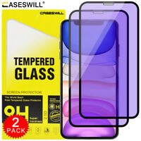 For iPhone 12 11 Pro X XS Max XR Anti-Blue Light Tempered Glass Screen Protector