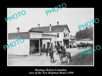 OLD 8x6 HISTORIC PHOTO OF HASTINGS BC CANADA THE NEW BRIGHTON HOTEL c1890