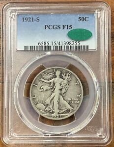 1921-S Walking Liberty Half Dollar PCGS F15 CAC*Nice Coin*