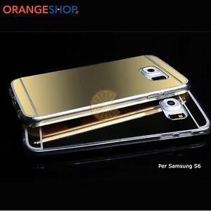 Cover silicone Alluminio retro Specchio custodia per Samsung S6 S7 S7edg S8 S8+