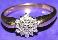VINTAGE 18ct YELLOW GOLD MULTI DIAMOND ROUND CLUSTER RING SIZE L