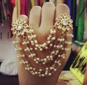 Indian Gold Polish Floral Design Adjustable Kundan Pearl Double Finger Ring Girl
