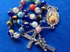 Custom Millefiori St Therese Saint Lil Flower CRUCIFIX 25 Bead Handmade Rosary