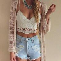 Women Crochet Tank Camisole Lace Floral Vest Blouse Bralette Bra Crop Top Ladies