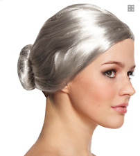 GREY GRANNY WIG WITH BUN OLD WOMAN LADY FANCY DRESS COSTUME NORMAN BATES MOTHER