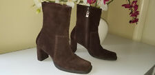 Tommy Hilfiger Brown Suede Leather Mid-Calf Boots Chunky Heel Side Zip Sz.6,5M