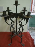 Antico Bellissimo CANDELABRO in Ferro Battuto a 5 Fiamme 28x29 cm, h 50 cm