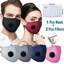 Reusable Washable Cloth Face Mask w/ Air Port + 2 PM2.5 Carbon Filters In Stock-