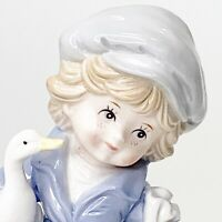Vintage Arnart KPM Porcelain Figurine Freckle Faced Young Boy Duck Goose Japan