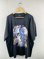 Mr Big Outfitters Men's Vintage Short Sleeve Grey Wolf T Shirt Size 4XL Black