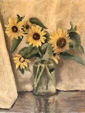 RARE~1932 WALLY STRAUTIN SUNFLOWERS SUNFLOWER FLORAL STILL LIFE OIL PAINTING