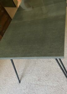 """Mid-Century Modern Atomic Style Formica Top Dining Table W 12"""" Leaf, Black Legs"""