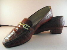 Nice ETIENNE AIGNER Tobacco Brown Crocodile Pumps w/Insignia Brass Buckles  7.5B