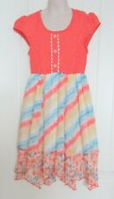 Jona Michelle, Coral Lace/Watercolor Sun Dress, Cap Slv, Uneven Hem, #C04458, 8