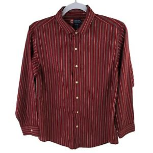 Chaps Button Up Dress Shirt Youth Boys Sz Large 14/16 Red Striped Long Sleeve