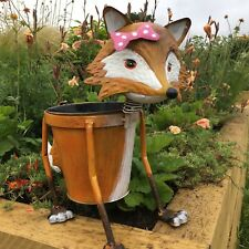 NODDING METAL FOX PLANTER OUTDOOR POT GARDEN ORNAMENT