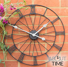 Metal Garden Wheel Wall Clock Outdoor Black Roman Numeral Skeleton Frame Battery