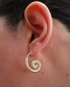 14K YELLOW GOLD OVER 925 STERLING SILVER SPIRAL DESIGN EARRINGS W/ LAB DIAMONDS